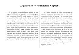 """Zbigniew Herbert """"Barbarzyńca w ogrodzie"""""""