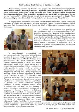 XX Światowy Dzień Chorego w Szpitalu św. Józefa