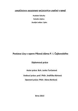 Postava Lízy v opere Piková dáma P. I. Čajkovského