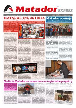 Matador oceňuje - MATADOR Holding