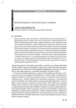 Jana Páleníková Mircea eliade a cesta od mýtu k románu