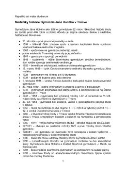 Medzníky histórie Gymnázia Jána Hollého v Trnave