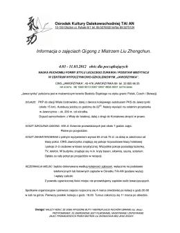 Informacja o zajęciach Qi gong z Mistrzem Liu Zhongchun.