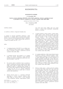 Rozhodnutie Komisie z 18. decembra 2013, ktorým sa