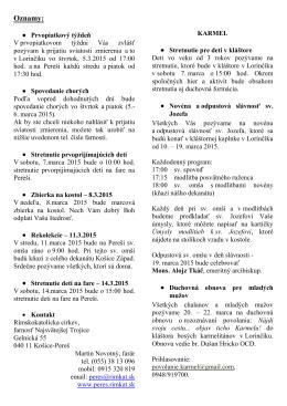 Oznamy: - Rímskokatolícka farnosť Košice
