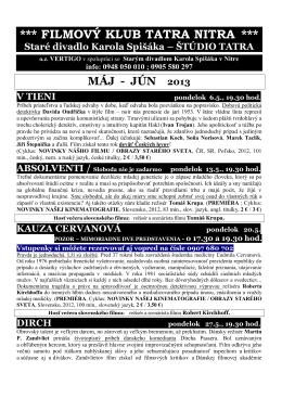 FK Tatra Nitra MÁJ – JÚN 2013