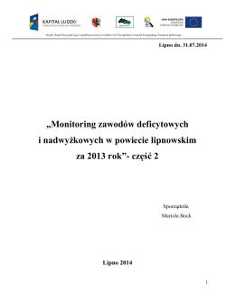 Monitoring zawodów deficytowych i nadwyżkowej II cz. 2013r.