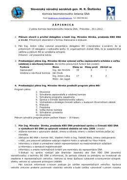 Zápis zo zasadania - Slovenský národný aeroklub
