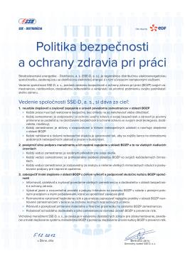 SSE Politika bezpecnosti - plagat BOZP - A3 SSE