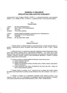 dohoda o zriadení spolocnejohlasovnepoziarov