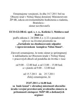 Záznam z verejného prerokovania zámeru v r. 2011