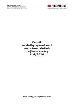 Cenník č. 4 - 2014 platný od 01.10.2014