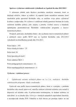 Správa o výchovno-vzdelávacích výsledkoch za 2.polrok šk.roka