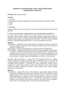 Zápisnica zo zasadnutia Rady seniorov Mesta Dolný Kubín