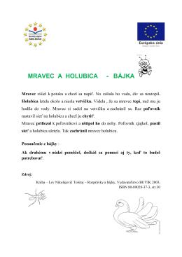 MRAVEC A HOLUBICA - BÁJKA
