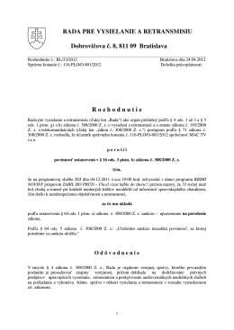 RL/033/2012 - Rada pre vysielanie a retransmisiu