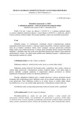 Metodické usmernenie č. 2/2013 k základným pojmom