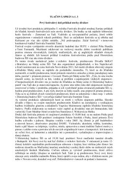 TLAČOVÁ SPRÁVA č - FESTIVAL DIVADIEL STREDNEJ EURÓPY