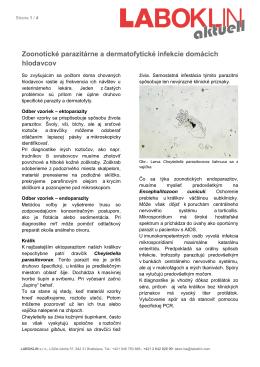 Zoonotické parazitárne a dermatofytické infekcie