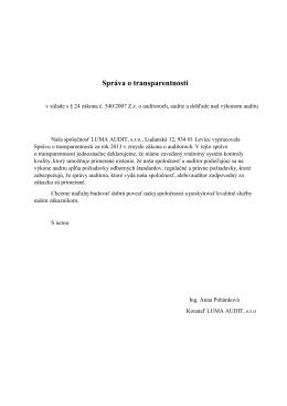 Správa o transparentnosti v zmysle § 24 Zákona