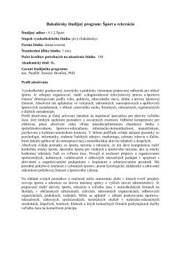 Bakalársky študijný program: Šport a rekreácia