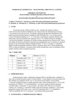 DIABETICKÁ NEFROPATIA – ODPORÚČANÉ POSTUPY SNS A SDS