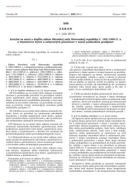 205/2014 Zákon, ktorým sa mení a dopĺňa zákon Národnej