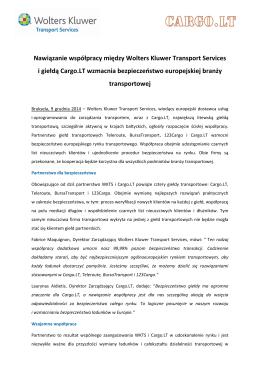 Nawiązanie współpracy między Wolters Kluwer Transport