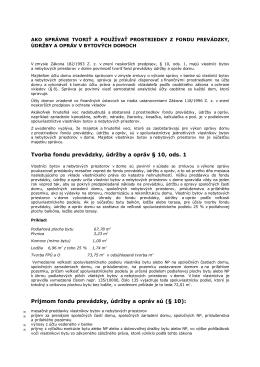 Tvorba fondu prevádzky, údržby a opráv § 10, ods. 1