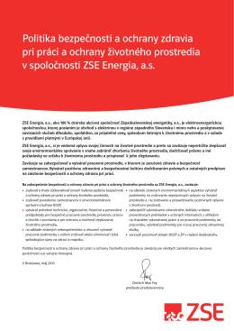 Politika bezpečnosti a ochrany zdravia pri práci a ochrany životného