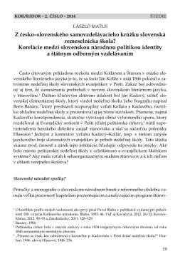 Z česko–slovenského samovzdelávacieho krúžku - Kor