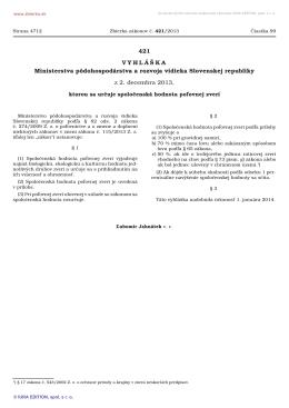 421/2013 Vyhláška Ministerstva pôdohospodárstva a rozvoja