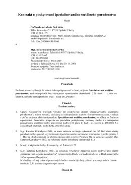 Kontrakt o poskytovaní sociálneho poradenstva č.1