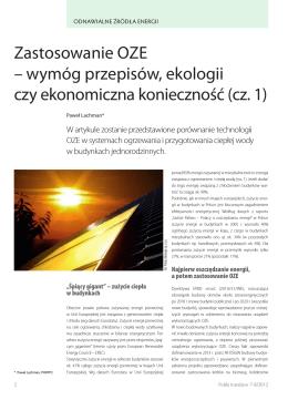 Zastosowanie OZE - Polska Organizacja Rozwoju Technologii