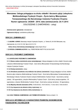 OGŁOSZENIE O ZAMÓWIENIU.pdf - Narodowy Instytut Fryderyka