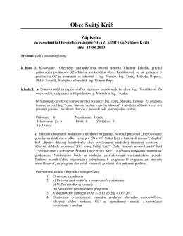 Zápisnica OZ 6/2013 zo dňa 13.08.2013