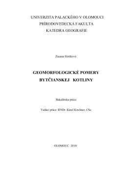 geomorfologické pomery bytčianskej kotliny