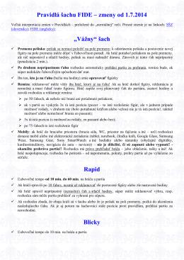 Pravidlá šachu FIDE – zmeny od 1.7.2014