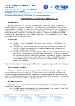 Ogólne Warunki Sprzedaży ZAE Ergom Sp. z o.o