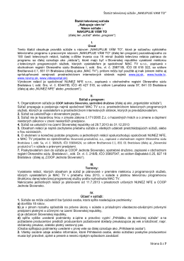 """Štatút televíznej súťaže """"NAKUPUJE VAM TO"""" Strana 1 z 7"""