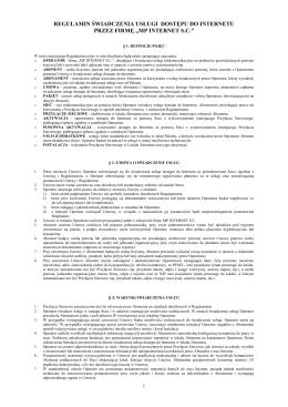 obowiązujący od 1 lipca 2014 regulamin sieci