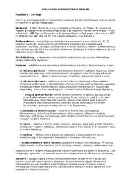 Regulamin Zamieszczania Reklam