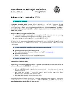 Podrobné informácie o maturitnej skúške v šk.roku 2014/2015