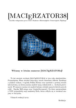 [MACIERZATOR38] - Koło Naukowe Matematyków UŚ