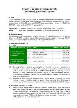 Podrobné pravidlá súťaže - OTP Banka Slovensko, as