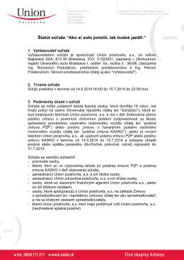 Union poistovna_statut sutaze
