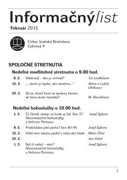 Február 2015 - Cirkev bratská v Bratislave