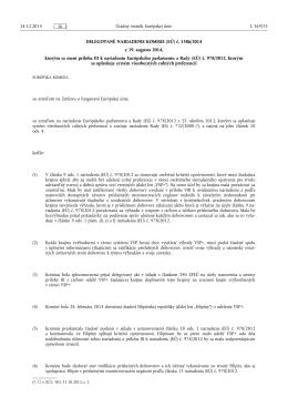 DELEGOVANÉ NARIADENIE KOMISIE (EÚ) č. 1386/ 2014