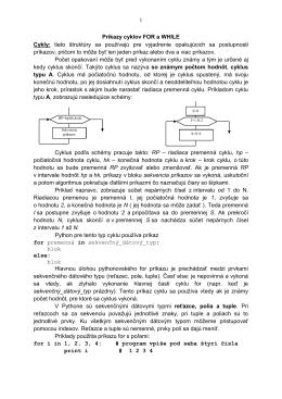 1 Príkazy cyklov FOR a WHILE Cykly: tieto štruktúry sa používajú pre