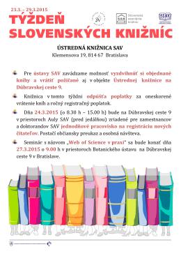 Klemensova 19, 814 67 Bratislava Pre ústavy SAV zavádzame